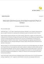 Eldorado Gold Announces Amended Investment Plans in Greece